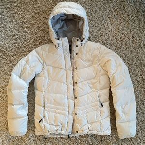 The North Face White Hooded Puffer Coat